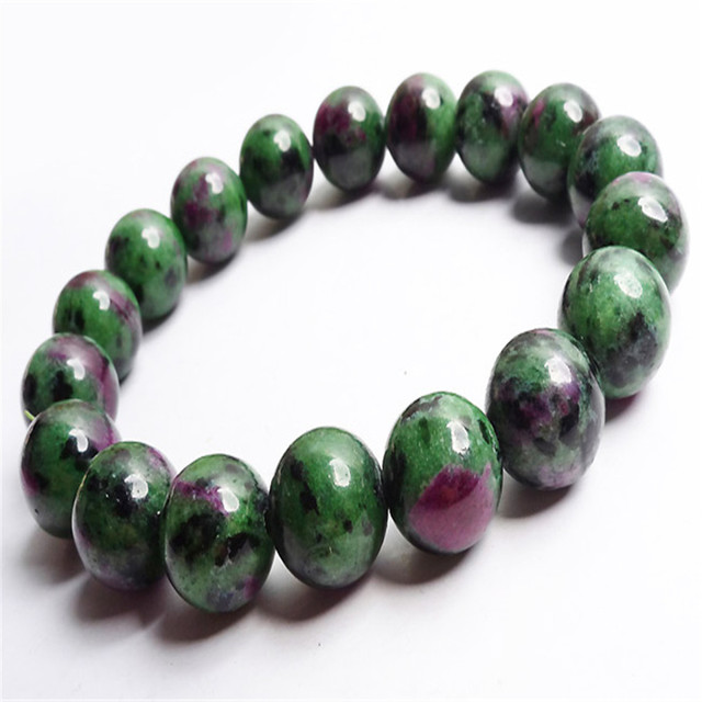 100% Genuine Red And Green Zoisite Natural Stone Bracelet 12mm Stretch Round Bead Fashion Jewelry Bracelet