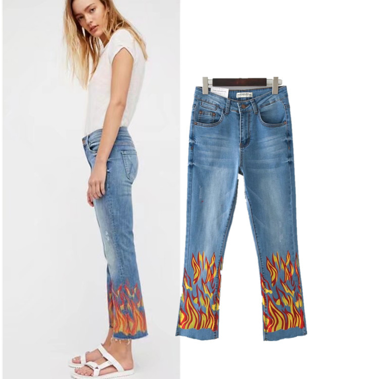Flame Painted Pattern Denim Trousers Women Top Quality Cotton Spandex Flare Pants Femme Fashion Vintage Bleached Europe Jeans flame trees of thika