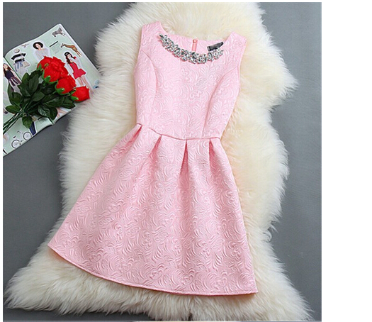 TFGS New Design O Neck Sleeveless Vestidos Solid Ball Grown Women Dress Elegant Women Vestido Slim