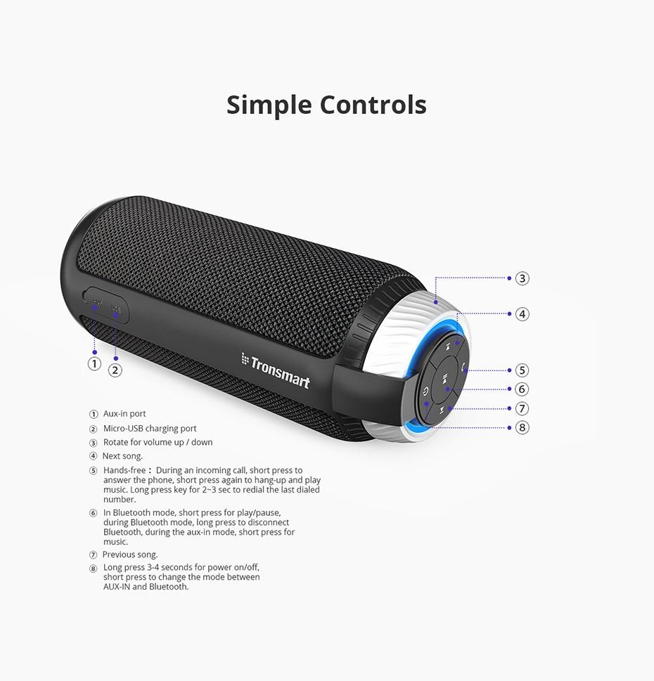 Tronsmart Element T6 Bluetooth 4.1 Altavoz portátil Receptor de audio de barra de sonido inalámbrica Mini altavoces USB AUX para música MP3 Player10