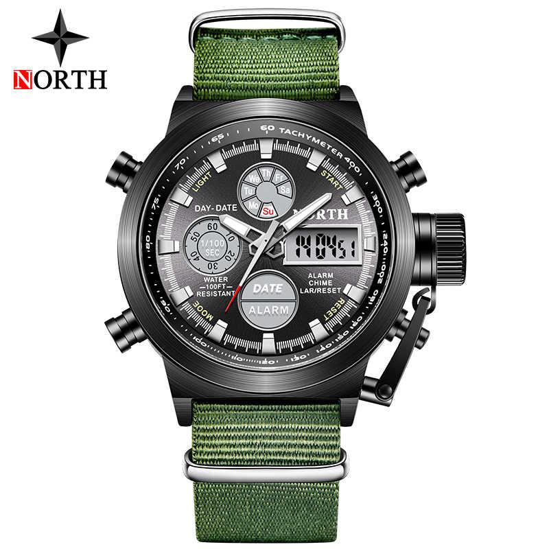 NORTH Waterproof Sport Quartz Watch Men Fashion Nylon Strap Alarm Chronograph Military Digital Watches Men's Relogio Masculino