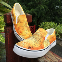 Wen Design Vintage Style The World Map Depicting Entire Earth's Surface Hand Painted Slip On Shoes Yellow Canvas Unisex Sneakers