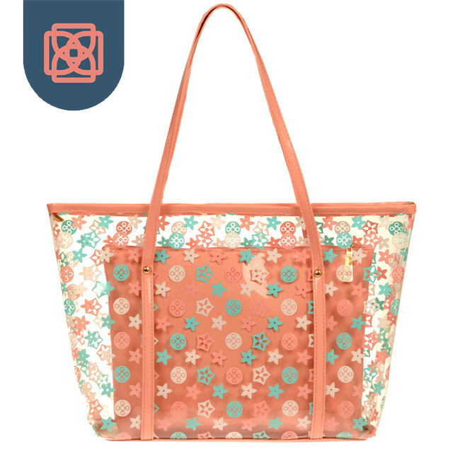 Woman Printing Flower Handbags Designer Candy Color Tote Bag See Through Shoulder Bags Clear Transparent