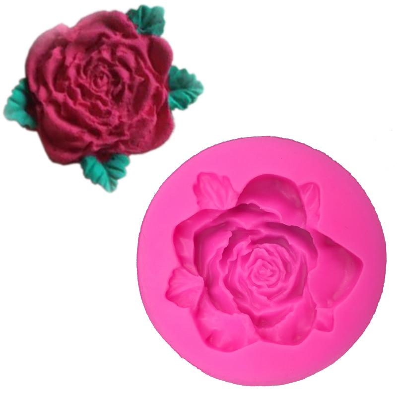 ᑎ‰Rosas flor forma 3D fondant pastel de silicona molde para arcilla ...