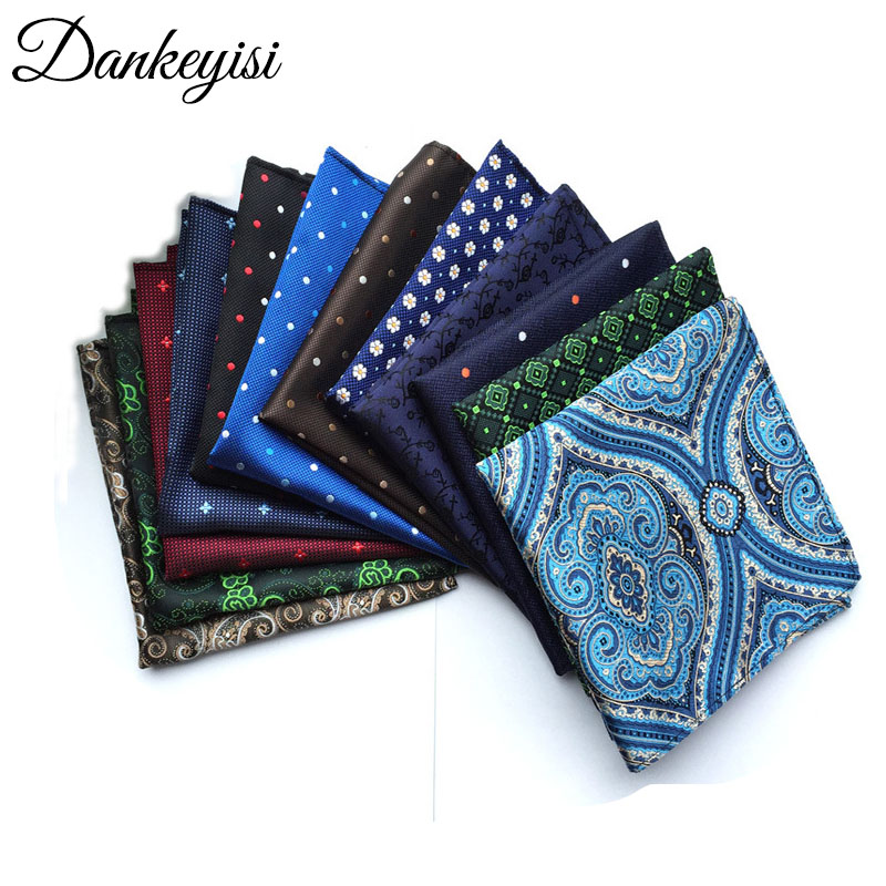 DANKEYISI Men's Hankerchief Tie Scarves Vintage Floral Print Men's Pocket Square Handkerchiefs 25*25cm Hanky Wedding Party