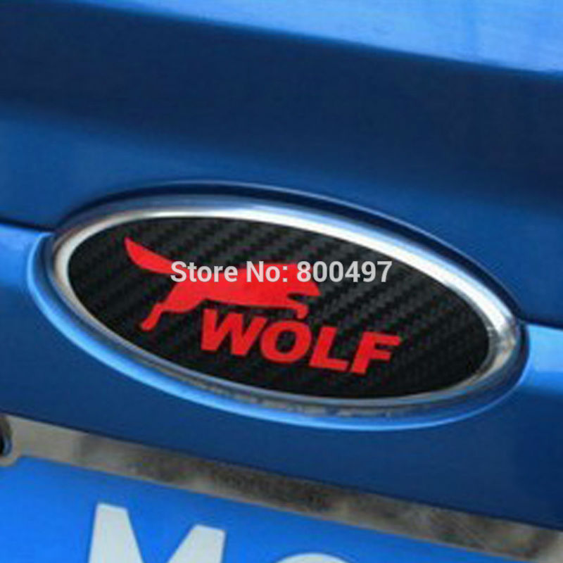 2 X New Design Car Styling Car Logo Cover Sticker Carbon Fiber Vinyl Decal Wolf Emblem For Ford Focus MK 1 Focus MK 2