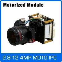 """Câmera ip 4mp 2.8 12mm motorizado zoom & lente focal automática 1/3 """"cmos ov4689 + hi3516d cctv ipc placa do módulo com cabo lan"""