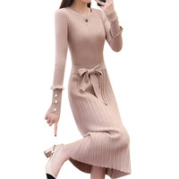2018 Autumn Winter Women Long Sweater Dress Bow Sashes Beading Knitted Dresses Ladies Long Sleeve Pleated Dress Vestidos AB976