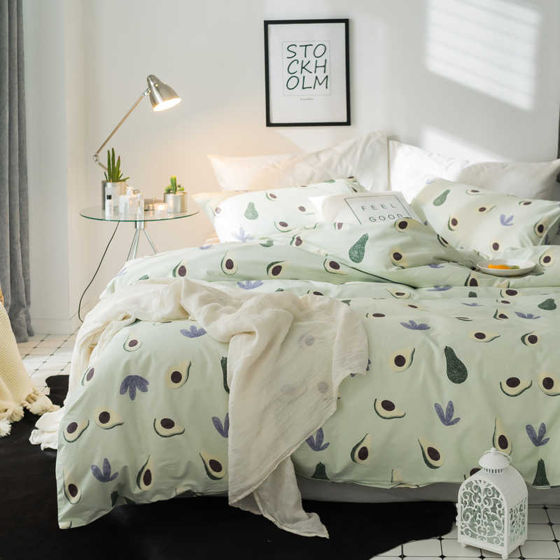 Papa&Mima Pastoral style bedding set Avocado print 100% Cotton Queen Twin King size duvet cover flat sheet pillowcases