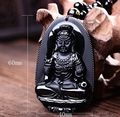 Big 62*40MM Natural Black 8 size Obsidian Carved Buddha Lucky Amulet Pendant Necklace For Women Men pendants Jade Jewelry