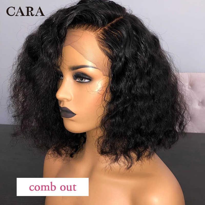 Pelucas de pelo humano del frente del cordón de Bob corto rizado 13x6 peluca Frontal del cordón peluca negra Natural de CARA para mujer