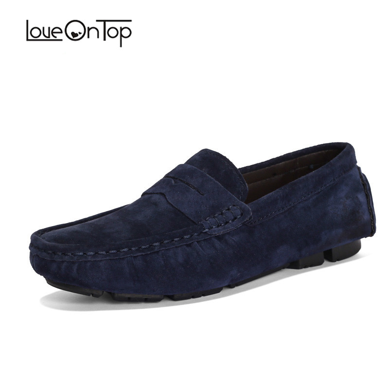 Loveontop Loafers Men Spring Autumn   Suede     Leather   Plus Size Men's Moccasin Loafers Breathable Slip-On Man Big Size Casual Shoes