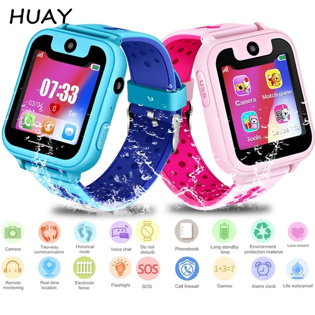 """2018 NEW kids GPS tracking watch waterproof 1.54"""" Touch Screen camera SOS Call L"""
