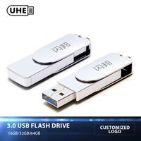 UHE USB 3 0 Flash Drive 64GB 32GB 16GB 150MBS Speed Sliver Metal Pen Drive Customized