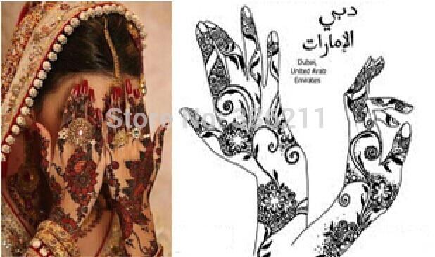 Mehndi Henna Kit Review : 1pair 2018 new temporary tattoo stencil template henna hands