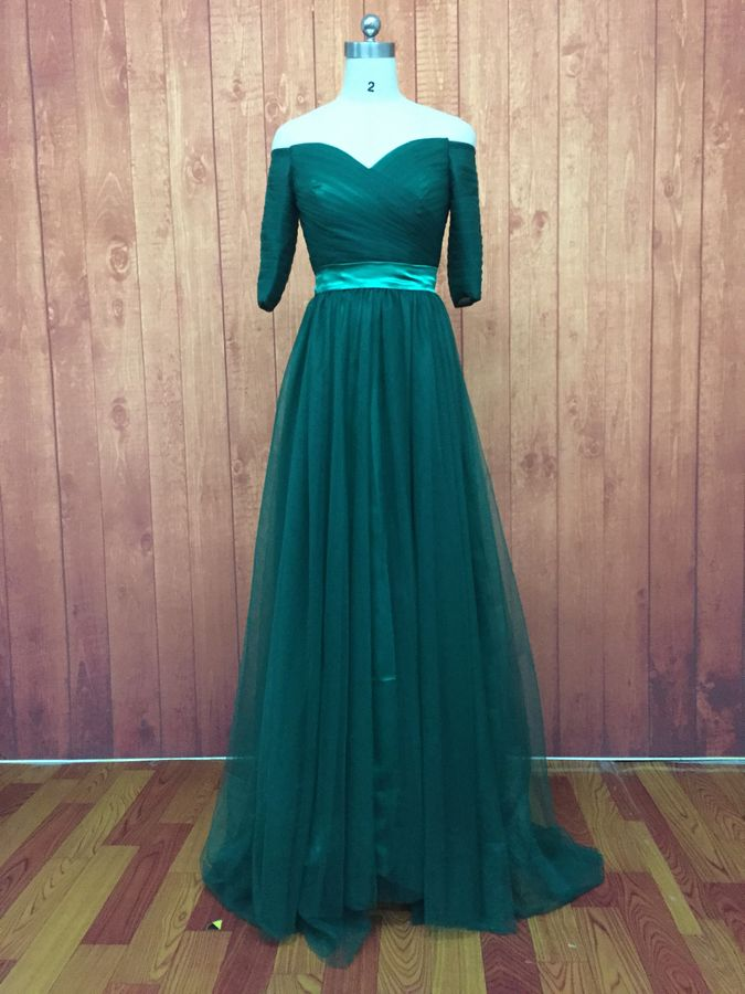 Custom made floor length tulle 3 4 sleeve bridesmaid for 3 4 sleeve wedding guest dress