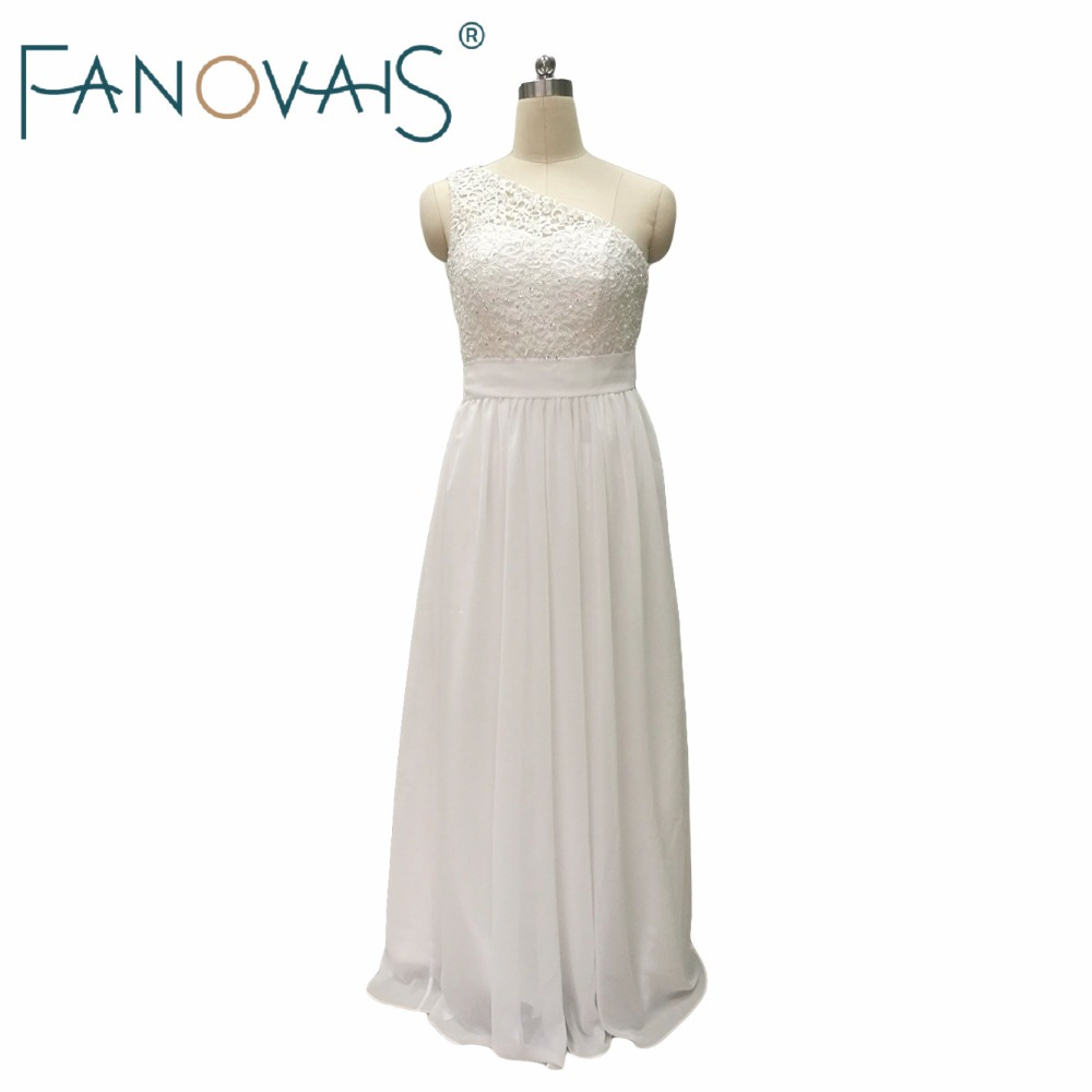 2019 Lace Chiffon Beach Wedding Dresses Beads Simple Cheap Bridal Gowns One Shoulder Vestido de Novia robe de maree
