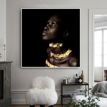 Black African Nude Women Gold Oil Painting on Canvas Scandinavian Style Posters and Prints Wall Pop Art Picture for Living Room