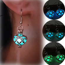 Hollow Love Glowing Stone  Earrings for Women Charming Heart Design Vintage Luminous Jewelry