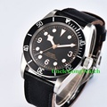 Corgeut 41mm Brushed Case Mens Automatic Watch Sapphire Glass Black Bezel Clock Sterile Dial Rosegold Marks Timepiece WCA2010BSR