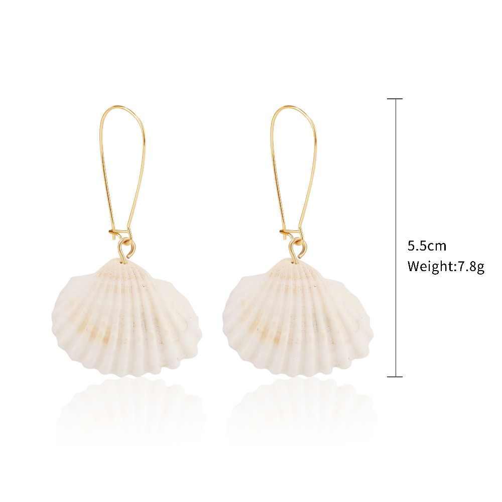 2019 moda biżuteria naturalne powłoki słodkowodne Pearl dynda kolczyki kobiety wykwintne ręcznie robione prawdziwe powłoki metalowe akcesoria do uszu