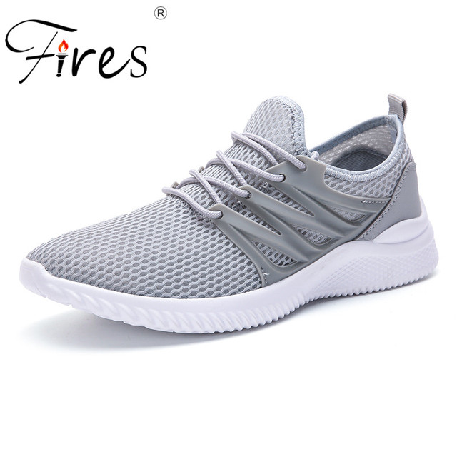 Fires Men Running Sneakers Mesh Fabric Sport Shoes lightweight Outdoor Walking Shoes Male Breathable Jogging Shoes Flat Shoes