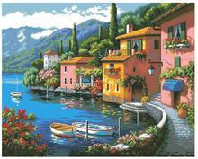 Kit de punto de cruz con cuentas de alta calidad, ciudad, casa, barco, lago, montaña, dim 35285 70 35285