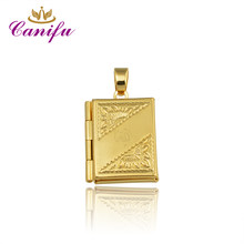Canifu New arrival Gold Color rectangle locket Pendant No Necklace Allah Muslim Pendants factory price 80351(China)