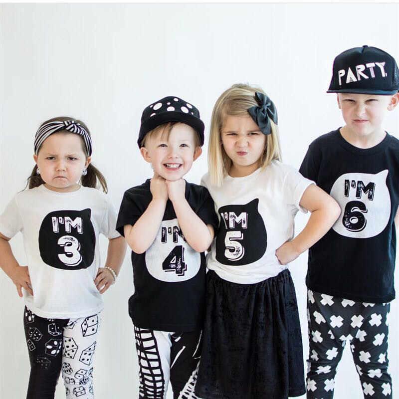 קיץ תינוק בני חולצות T לבן שחור ילדים צמרות בגדי חולצות Tees 1 4 שנים הראשונה יום הולדת רחוב מספר טי