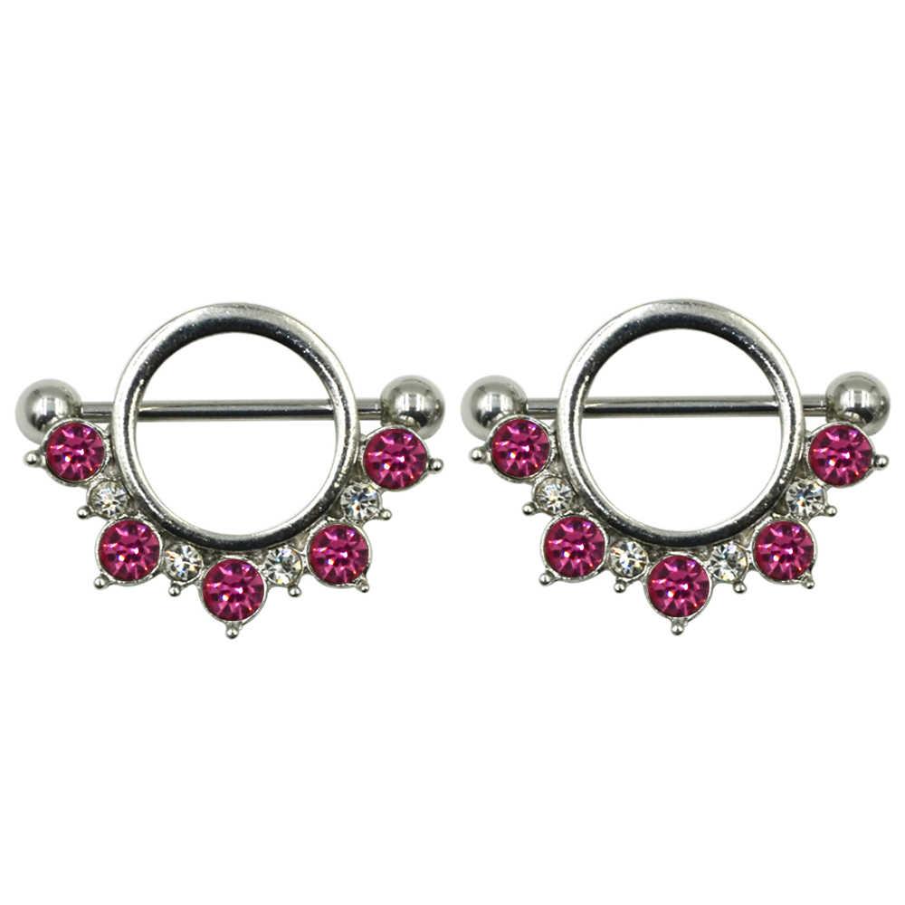 PAIR Thép Không Gỉ Hoa Núm Vú Lá Chắn Nhẫn Barbell Piercing Jewelry với CZ Đá Quý