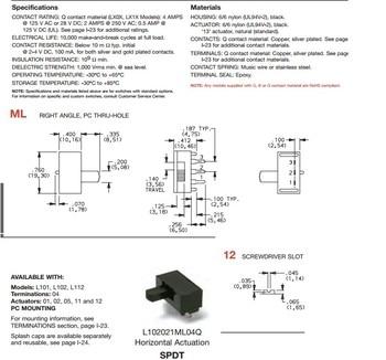 [VK]ORIGINAL  L102121ML04B dialing switch 3 feet 3pin 2 gear 0.4VA single row side dial slide switch