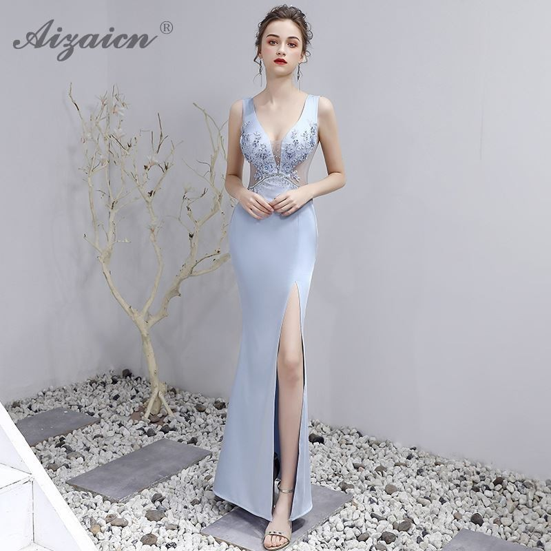 Blue V Neck Long Dresses Cheongsam Modern Chinoise Party Gown Oriental Style Elegant Qi Pao Women Chinese Evening Dress Qipao