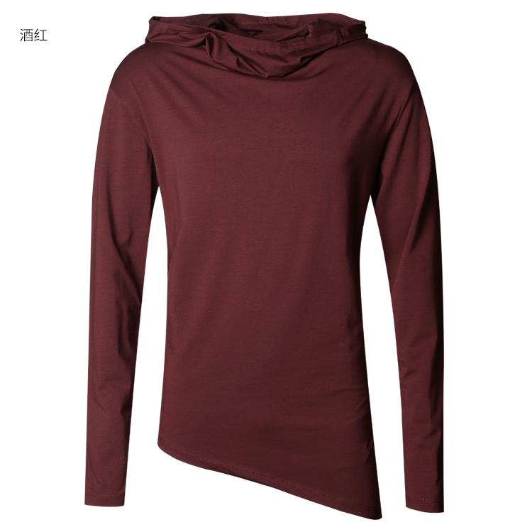 HTB1mEgbfIfpK1RjSZFOq6y6nFXaH - Men Autumn New European Style High Collar Long Sleeve Hooded T-shirt with Cap Men Slim Casual Cotton Irregular T-shirt T908