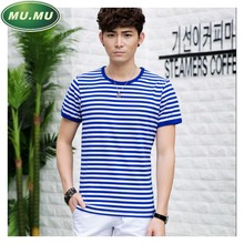 Sea-striped shirt striped men's short sleeve t-shirt large size polyester cotton tops tees summer wear College Wind sailor suit