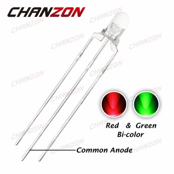 CHANZON 100pcs 3mm Bi-Color Green And Red LED Diode Common Anode 20mA 3 mm Round Transparent 20mA LED Light Emitting Diode Lamp
