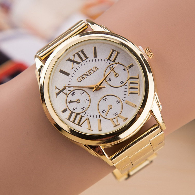 Relogio Feminino 2017 New Brand Quartz Watch Women Fashion 3 Eyes Gold Geneva Watches Casual Stainless Steel Dress Wristwatches alto saxophone glass fiber case light durable lock blue new white color