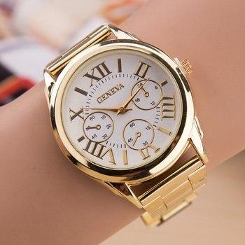 ed5bbb188a46 Relogio femenino 2019 nueva marca de mujer de cuarzo relojes de moda 3 ojos  oro Ginebra relojes Acero inoxidable Casual vestido reloj de pulsera