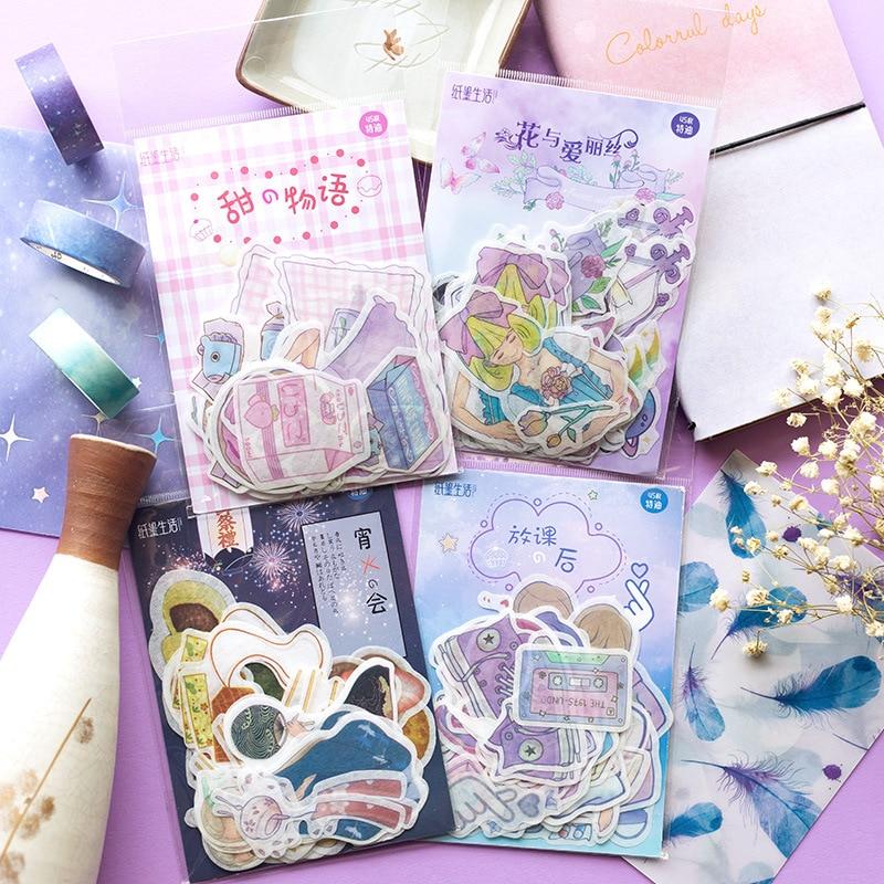 45pcs/Pack Japanese Kawaii Cartoon Sticker Scrapbooking Cute Alice Diy Journal Decorative Adhesive Label Creative Stationery