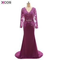 Elegant V Neck Purple Mother Dresses For Weddings Jersey Lace Long Sleeve Mermaid Mother of the Bride Dress 2017
