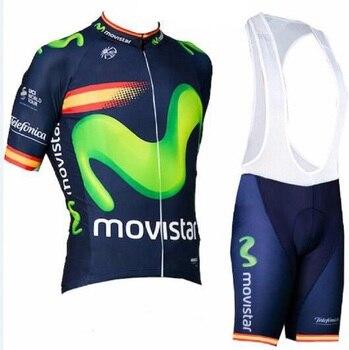 Movistar 2018 hombres verano manga corta Ciclismo jersey bike bib shorts set MTB Ropa deportiva