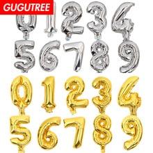 все цены на Decorate 8inch gold silver number foil balloons wedding event christmas halloween festival birthday party HY-80