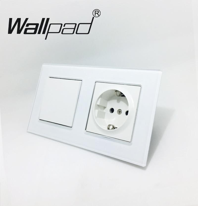 Standard de L'UE Prise avec Griffes Wallpad Blanc Panneau de Verre 1 Gang Interrupteur et Schuko Plug Européenne UE Mur Prise D'alimentation avec Haken