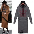 Plus Size XXXL 4XL Women Winter Dress 2016 letters long sleeved dress Casual Hips warm  Hooded sweater tshirt  Dress women cloth