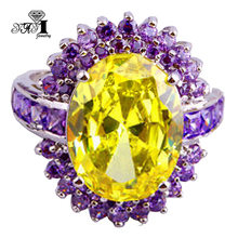 YaYI-joyería YaYI de corte princesa para mujer, anillos de compromiso de Color plata y circón amarillo de 2,3 CT, anillos de boda para fiesta