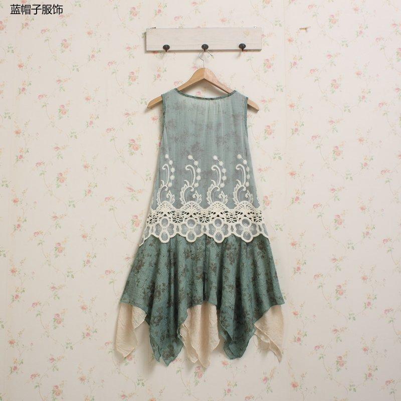 Tunique sundress patchwork vintage dentelle hippie boho chic bohème lin coton lolita crochet broderie mori fille jurk floral