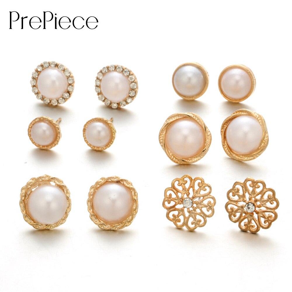 Trendy Daily News: PrePiece Retro Pearl Earrings 6 Pair Flower Stud Earring