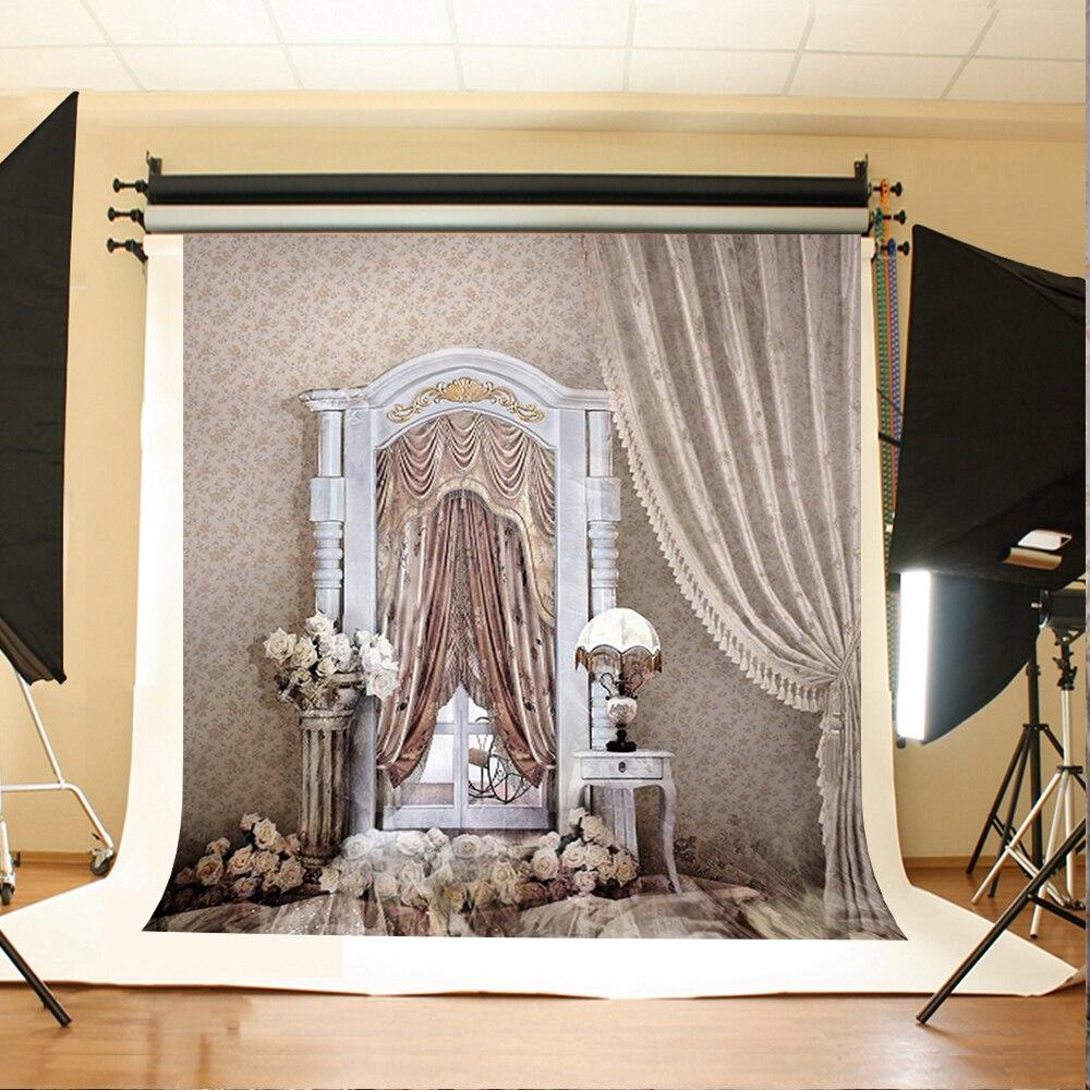 Wedding Photography Backdrops White Flower Table Lamp Photographic Background White Windows Backdrops for Photographic Studio
