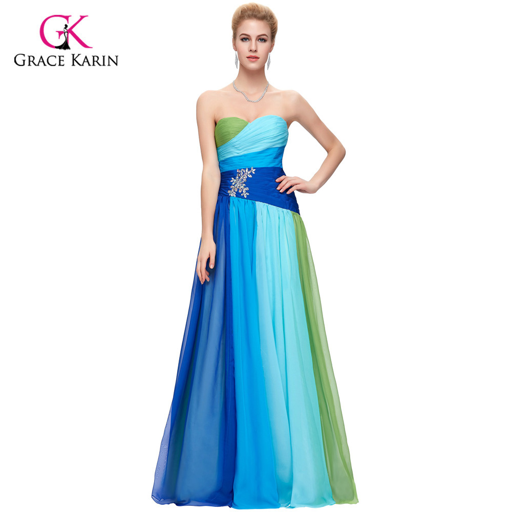 2018 Grace Karin Colorful Blue Green/Red Chiffon Long Evening Dresses Cheap Rainbow Prom Gown Formal Party Dress 6069