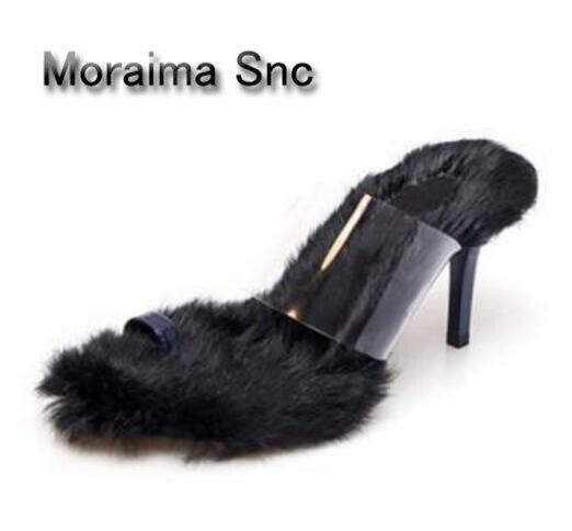 Moraima Snc beige pink black shoes sandals summer fur high heels slippers females PVC flip flops women shoes slippers for home