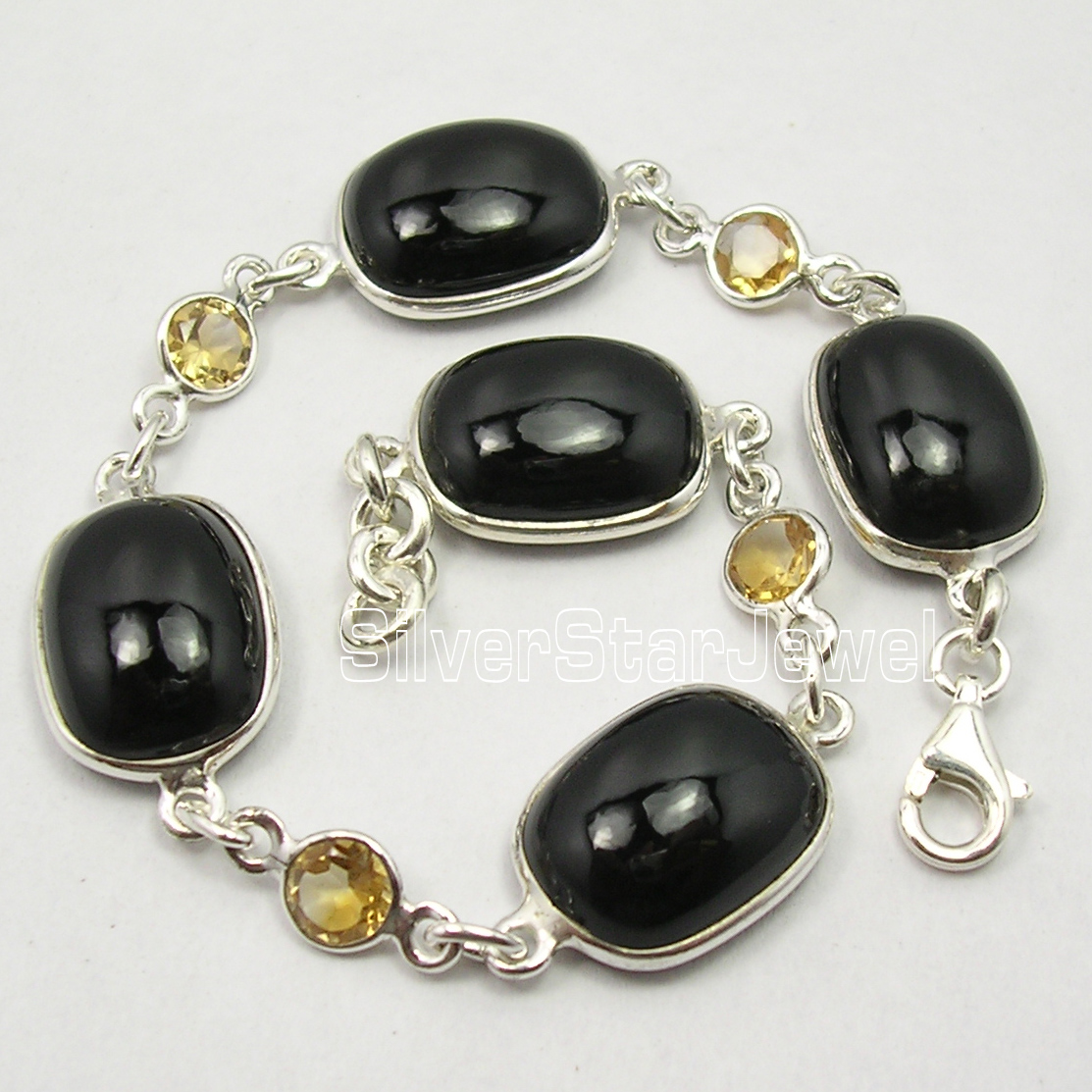 Chanti International Solid Silver Amazing BLACK ONYX & Citrines BESTSELLER Heavy Bracelet 8 3/8